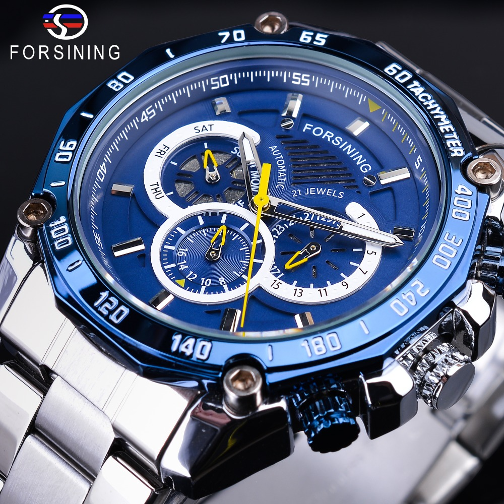Forsining Fashion Blue Design Complete Calendar Three Small Dial Silver Stainless Steel Automatic Mechanical Watches for