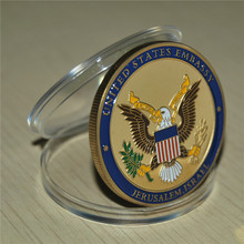 In stock Sample new Edition free shipping Jerusalem Israel United States Embassy Trump Challenge Coin, Dedicated May 14, 2018 jerusalem israel petra and sinal