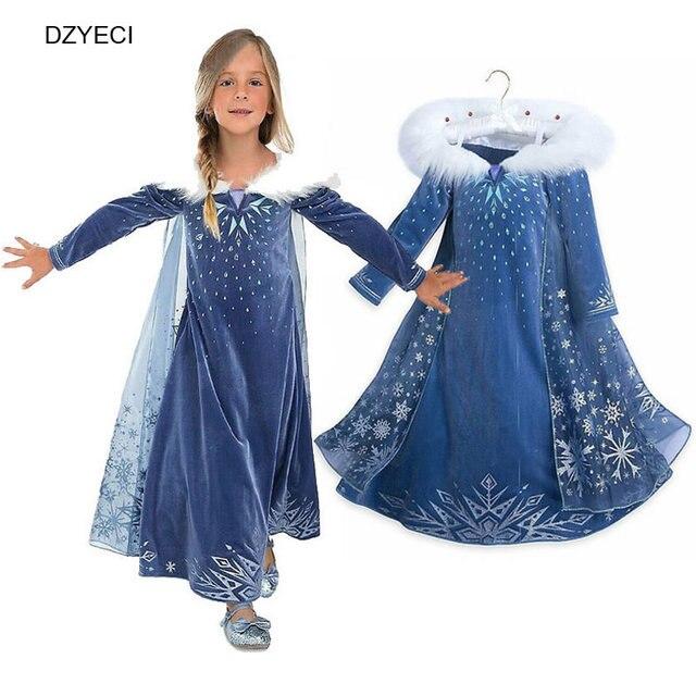 42c471e907057 DZYECI Elza fille Deguisement robe Carnaval Costumes pour enfants  adolescent reine des neiges flocon de neige