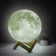 FENGLAIYI Rechargeable LED Night Light Moon Lamp 3D Print Moonlight RGB/2 Color Change Patted Touch For Creative Gift HomeDecor