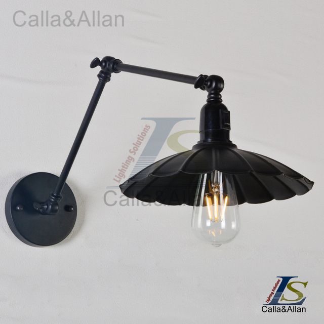 Swing Arm Wall Lamp Iron Shade Adjule Umbrella Sconce
