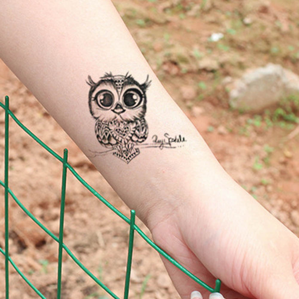 ᗔ2 Unidsset Lindo Búho Brazo Falso Transferencia Tatuaje Sexy