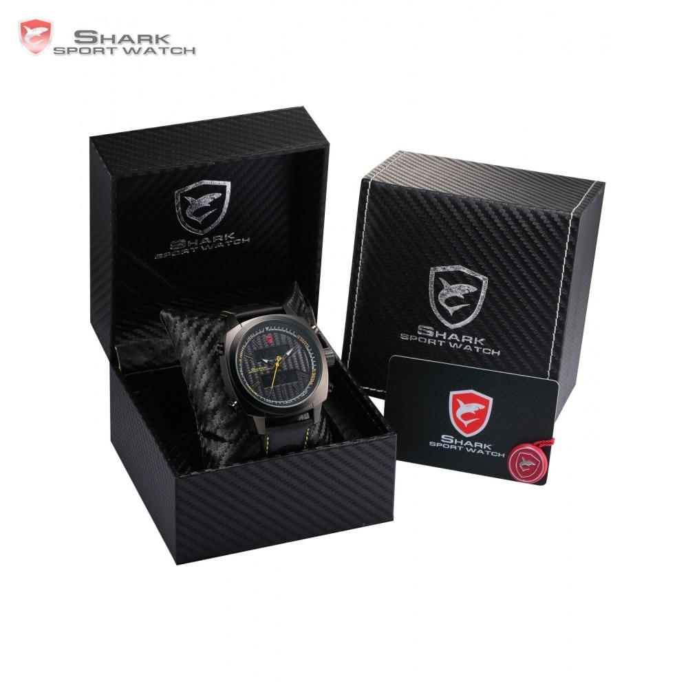 Luxury Leather Gift Box Silvertip Shark Sport Watches Brand Digital Backlight Date Alarm Chronograph Quartz Men Watch /SH491-494 greenland shark sport watch brand