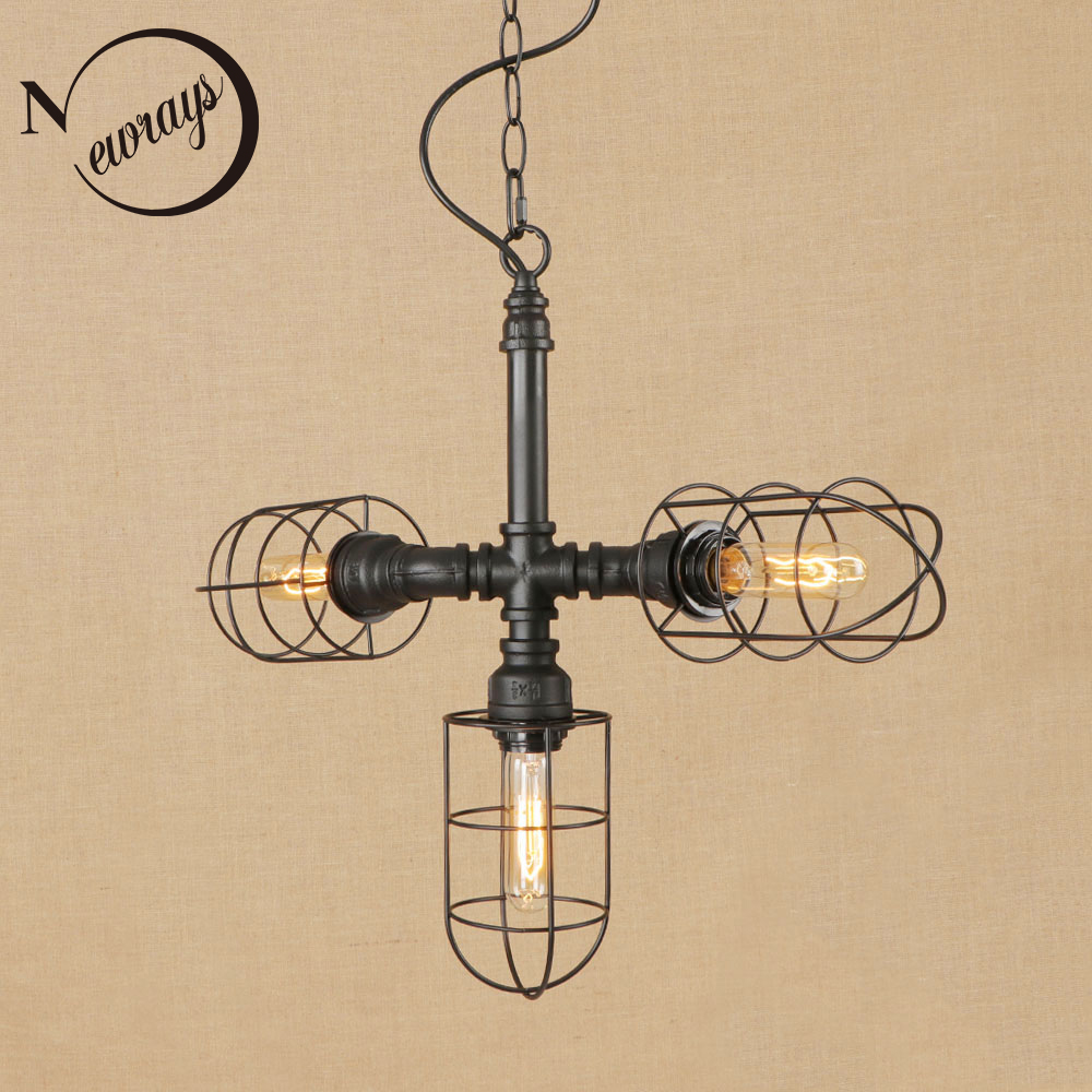 Industrial art deco iron pendant lamp LED E27 3 lights hanging light with 2 colors for bedroom living room restaurant cafe bar new loft vintage iron pendant light industrial lighting glass guard design bar cafe restaurant cage pendant lamp hanging lights