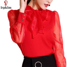 2017 Sexy Red Chiffon Shirt Spring Summer Runway Blouse Women s Puff Long Sleeve Bow Collar