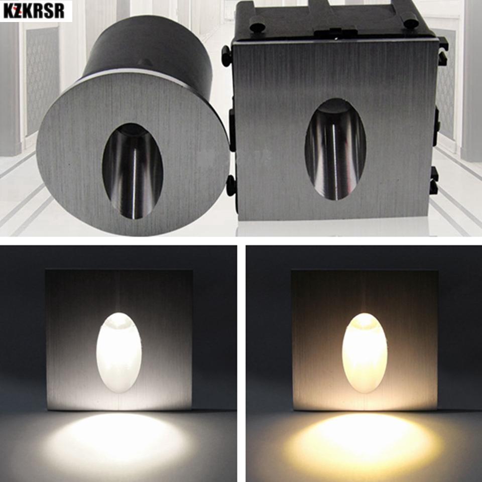 KZKRSR Aluminum Modern Brief LED Stair Lights AC85-265V 3W 1W Wall Mounted Staircase Background Recessed Stair Step Aisle Lamps free shipping hi q aluminum modern brief led stair light 85 265v 3w wall mounted spotlight background light step aisle lamp
