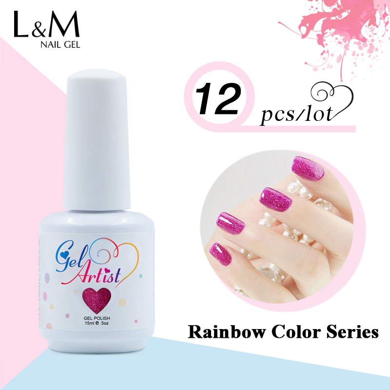 12ks Doprava zdarma Gelartist Bling Color Rainbow Gel Polish Soak Off - Manikúra