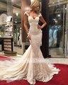 New Arrive Real Photo Sexy Backless Deep V Neck Lace Mermaid Wedding Dress 2016 Appliques Beading Chapel Train Robe De Mariage