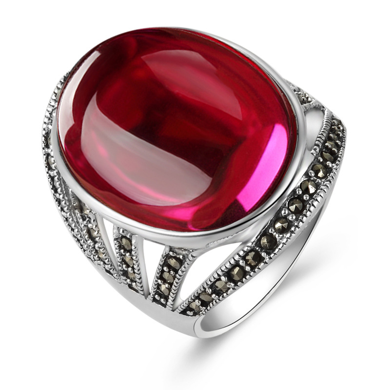 Long Baolong authentic S925 Sterling Silver Ring Silver ring finger ring red corundum exaggerated retro new lady