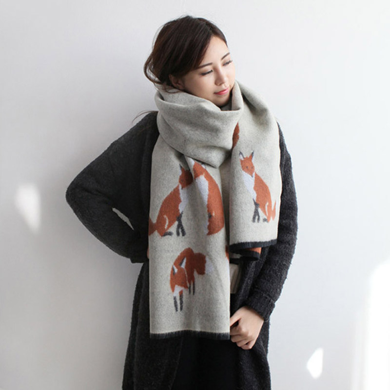 ladies scarves 2017 winter fashion warm fox scarf for women Imitation cashmere shawls and scarves new