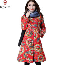2017 Women's Winter Jackets O Collar New Overcoat Long Retro Print Parkas Slim Thin Warm Outwear Jaqueta Feminina  LZ167