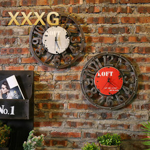 XXXG//Vintage loft round clock personality room hall clock American clothing shop wall clock American country vintage clock
