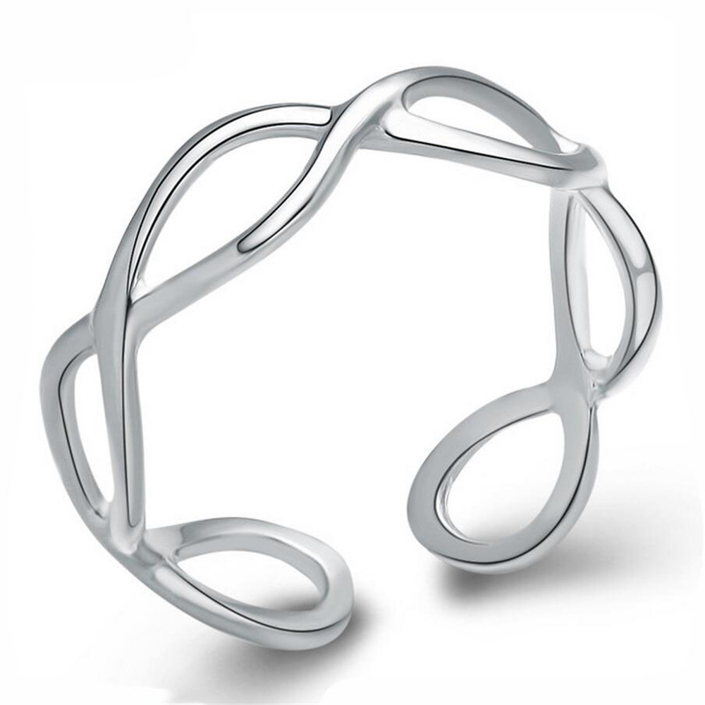 100% Sterling Silver Rings for Women Creative Number 8 Tail Rings Silver Ring Designs for Girl