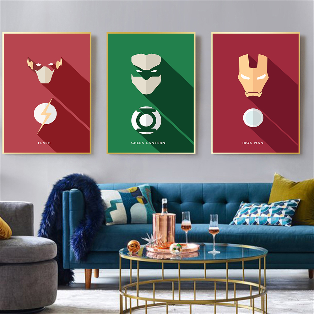 US $2.63 12% OFF Wall Art Modern Minimalist Superman Flash Iron Man Marvel  Characters Canvas Decoration Wall Painting For Bedroom Cuadros-in Painting  ...