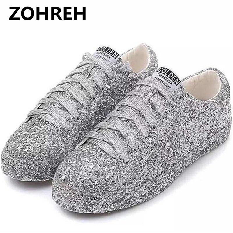 ZOHREH 2018 Rues Gardiste De la Mode Glitter Argent Paillettes lacent Bout Rond bling Plat Casual chaussures Dames plantes grimpantes Chaussures