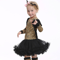 Girls Cat Halloween Costumes With Ear Headband Leopard Cross Dance Tutu Dress Carnival Party Fancy Costume