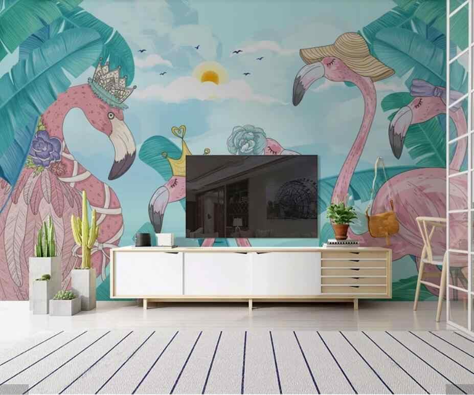 3D nórdicos flamencos Tropical papel pintado para paredes 3 D pared Mural de la pared decoración HD rollos de papel pintado fotográfico plantas de hoja de papel de contacto