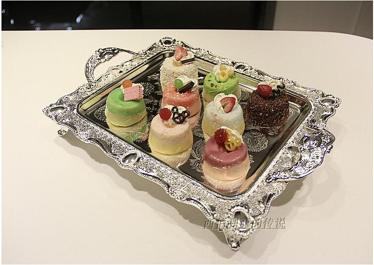 Модный прямоугольный серебряный металлический поднос, металлические противни для пирожных, декоративные сервировочные пищевые лотки, Сервировочная тарелка FT020