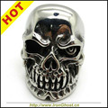 Envío gratis, alta calidad hombres niños plata motorista del acero inoxidable Ghost Terminator Skull anillo gótico Jewely