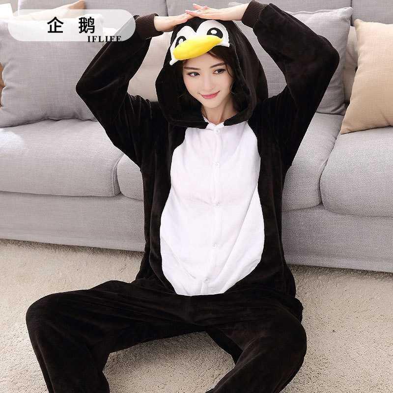 Black penguin Pajama Set Women Men Unisex Adult Animal Pijama Flannel Onesie  Cosplay Sleepwear Hoodie Halloween 6bb2ac6a7