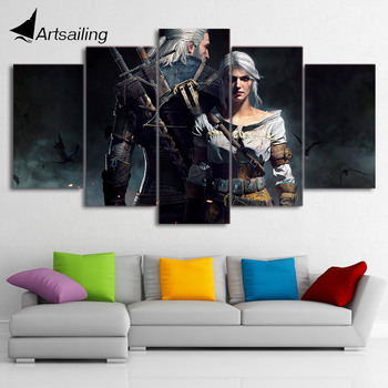 HD Printed the witcher geralt and ciri Painting on canvas room decoration print poster picture canvas Free shipping/ny-2622 no frame canvas