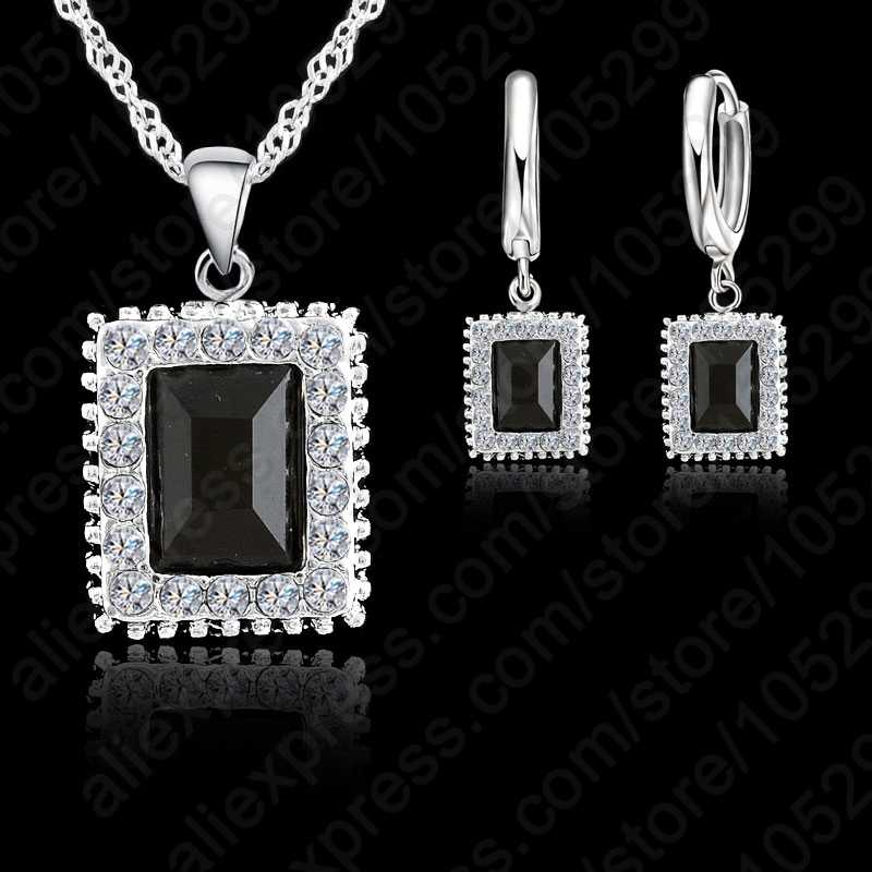 Top Quality CZ Jewelry Set 925 Sterling Silver Chains Pendant Necklace Earring Crystal Squire Jewelry Set For Women