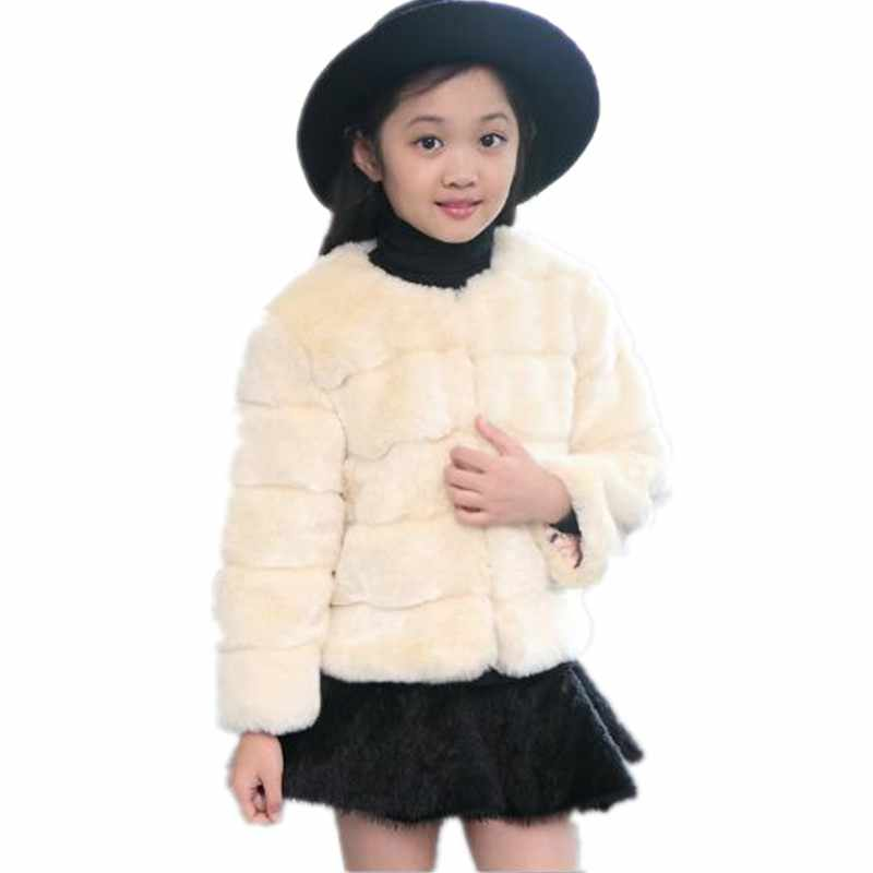 Furry Girls 2018 Autumn Winter Faux Fox Fur Jackets Toddlers Children's Outerwear Baby Girls Thicken Warm Coat Cotton ParkaN236