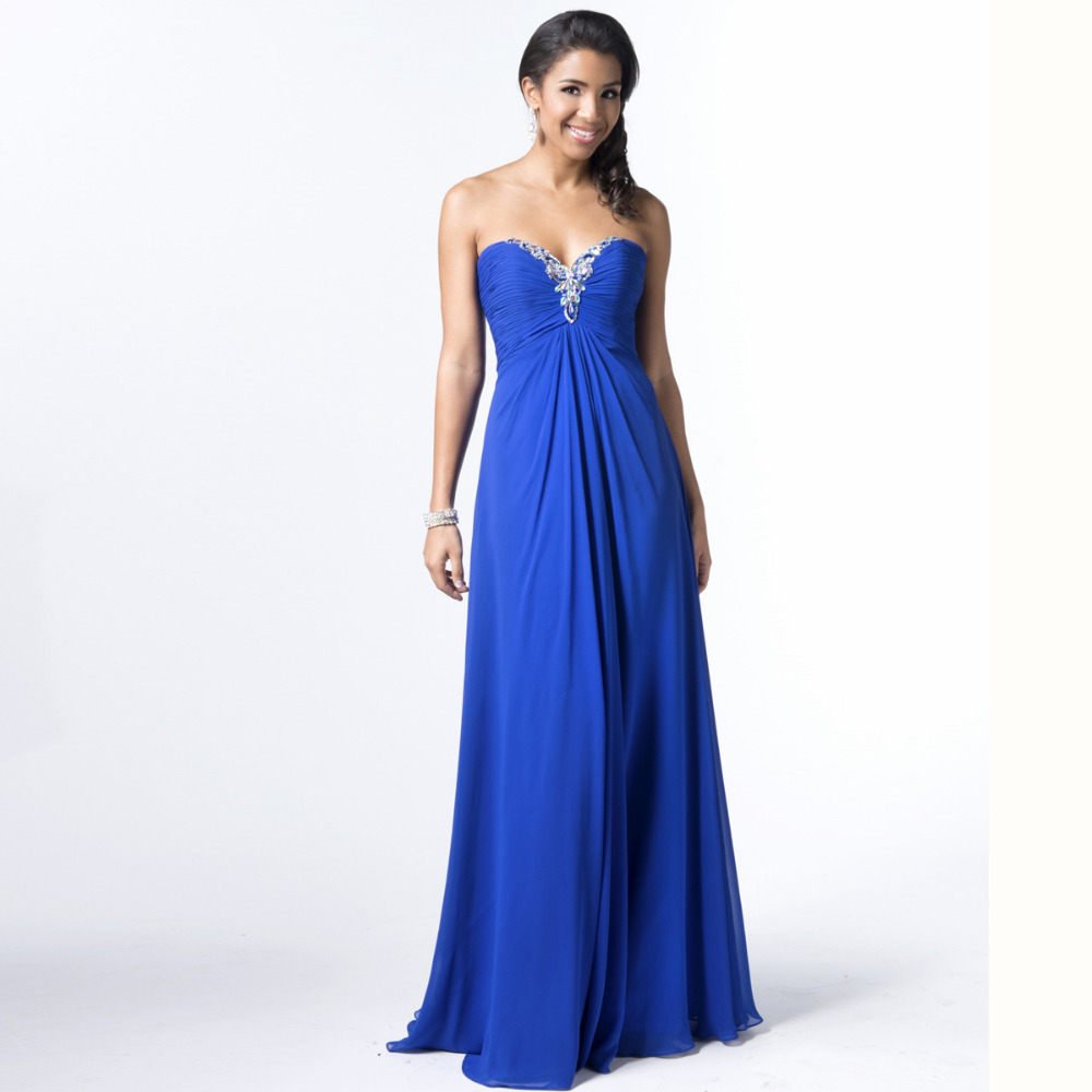 Discount Designer Evening Dresses: Robe De Soiree Blue Chiffon Long Evening Dress Party