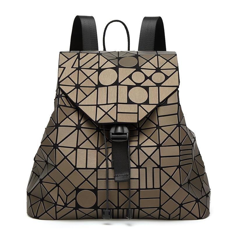 Women Backpack Feminine Geometric Plaid Sequin Female Backpacks For Teenage Girls Bagpack Drawstring Bag Holographic Backpack