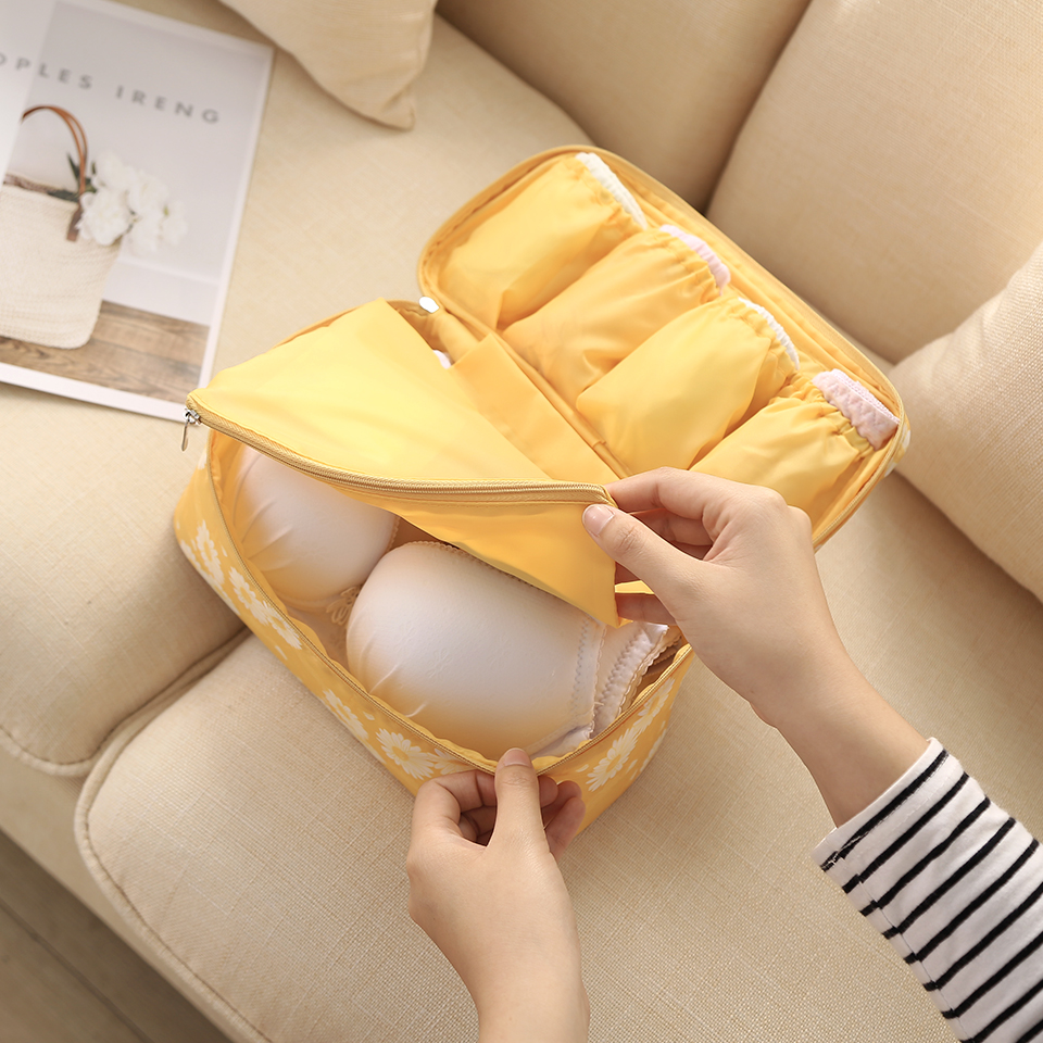 Image 5 - Travel Underwear Organiser, New Daisy Yellow Large Capacity Waterproof Women Ladies Bra Case Travel Pouch Bag Multiple Pockets-in Drawer Organizers from Home & Garden