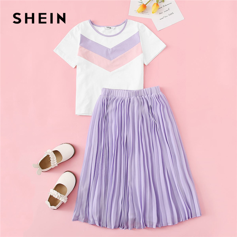 SHEIN Kiddie Chevron Tee And Elastic Waist Pleated Skirt Teenage Girls Clothing Two Piece Set 2019 Summer Casual Kids Clothes family matching clothes mother and daugther pleated dress large plus size skirt girls clothing set children mammy and me dresses