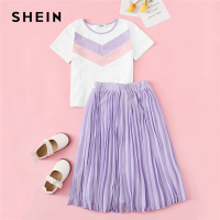 SHEIN Kiddie Chevron Tee And Elastic Waist Pleated Skirt Teenage Girls Clothing Two Piece Set 2019 Summer Casual Kids Clothes