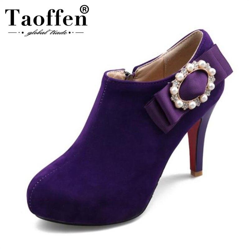 Chaussures Taoffen rouge 33 43 Zipper Courtes Femmes Bottes Haut Sexy Strass Talon Mince Arc pourpre Noir Taille Cheville rBTwrgzqyA