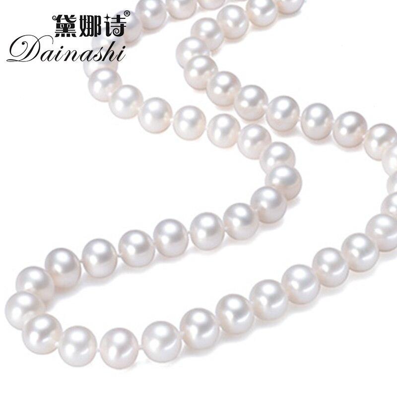 Dainashi 14 K or 100% AAA qualité collier de perles de culture d'eau douce blanche ronde pour les femmes en longueur de tour de cou 16