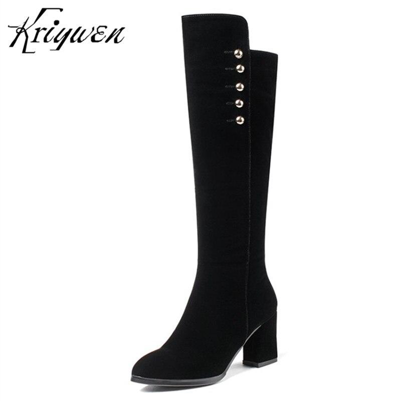 Kriywen 2018 Winter Fashion Womens Knee High Boots Zipper High Heels Brand Ladies Thigh Long Boots Dress Party Shoes Footwear