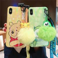 Pour iphone XS Max dessin animé Winnie coque de téléphone, mignon monstres couverture pour iphone X XS XR 6 7 8 plus étui + jouet pompon + sangle
