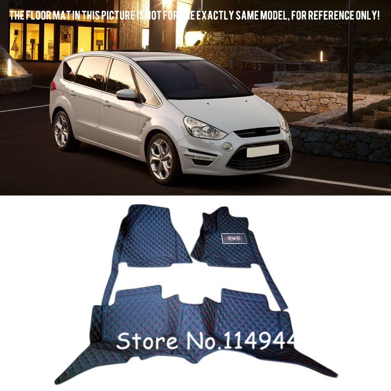 For Ford S-Max 2006-2014 7 seats Waterproof Custom Car Floor Mats Carpets Full Set for mazda cx 5 cx5 2nd gen 2017 2018 interior custom car styling waterproof full set trunk cargo liner mats tray protector