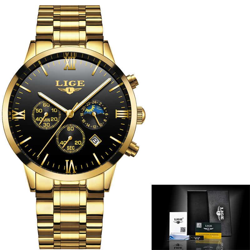 2018 ใหม่นาฬิกา Lige บุรุษแบรนด์หรูนาฬิกาจับเวลากันน้ำนาฬิกาควอตซ์ชายแฟชั่นธุรกิจนาฬิกา relogio masculino