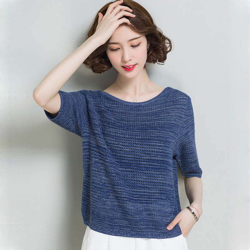 2019 Summer Women Mesh Pullover Tops Fashion Air Condition Short Sleeve Fashion Pull Femme  Hiver Elegant Ladies Knitwear