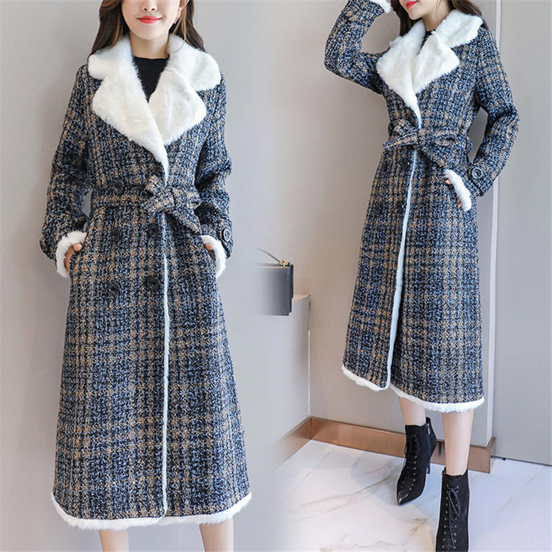 New Cotton Jacket Autumn Loose Thickening Medium-Long Plaid Cotton Plush Coats Female Wool abrigos mujer invierno 2019 f1319