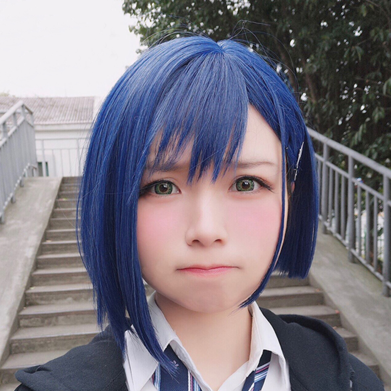 New Arrival DARLING In The FRANXX 015 Ichigo Short Blue Wig Synthetic Hair Perucas Cosplay Costume Wig+ Hairpin