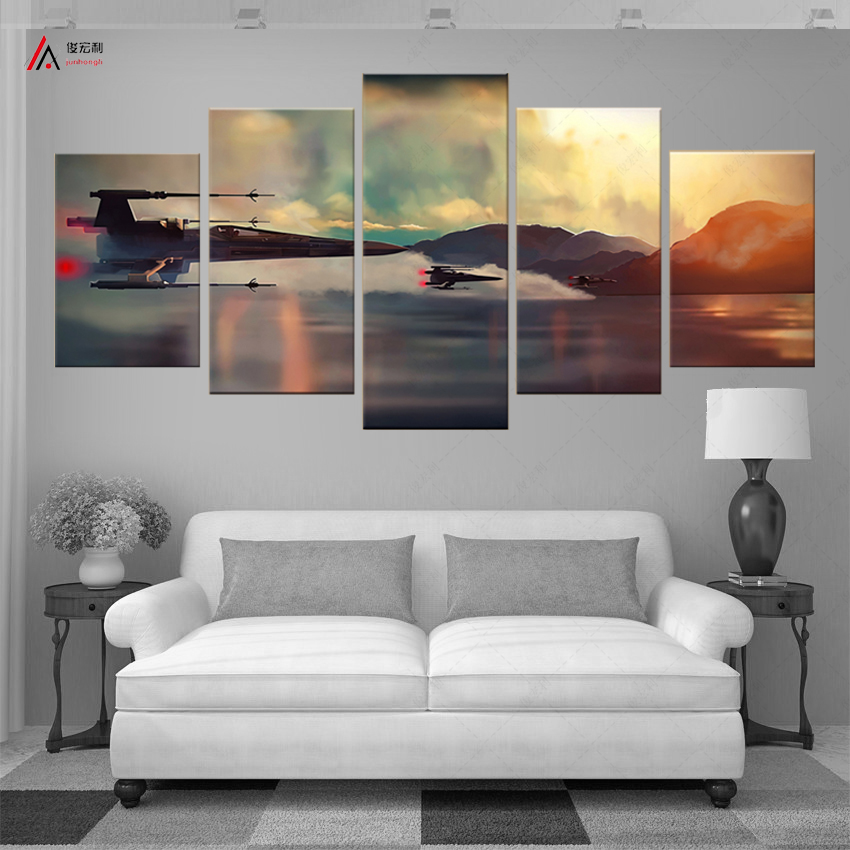 5 komad platna umjetnost Filmski poster Borba zrakoplova ukrašavanje doma Modularna slika HD tisak platna ulje na platnu Dječja soba nordijska