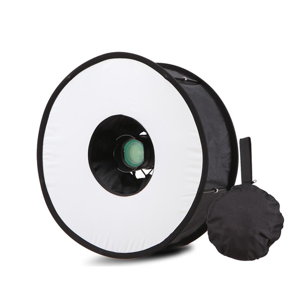 Lightdow 45cm Foldable Ring Speedlite Flash Diffuser Macro Shoot Round Softbox for Canon Nikon Sony Pentax Godox Speedlight 2