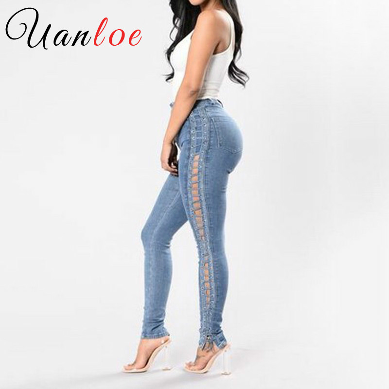 UANLOE Women Lace Up Jeans 2017 Fashion Ripped High Waist Skinny Denim Pencil Pants Sexy Side Hollow Out Bodycon Jeans lace hollow black denim shorts women ripped jeans with high waist sexy thin jeans for girls hole denim shorts women