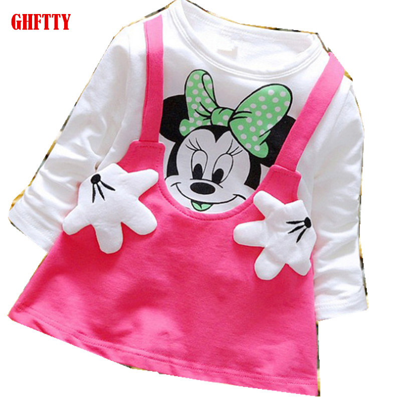 Princess Girls Dress Children Long Sleeve Cartoon baby girl Cotton Party Dresses for kids 2017 New Minnie Mouse Dress Cotton baby girls white dresses for wedding and party wear girl princess dress kids lace clothes children costume age 3 4 5 6 7 8 9 10
