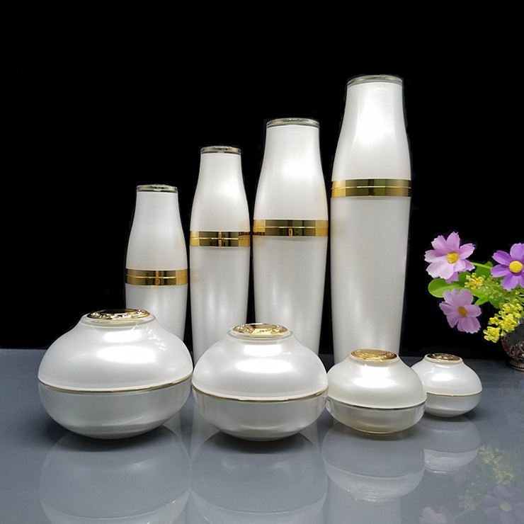 10pcs/lot 5/10/30/50g white Acrylic eye/face cream jar 30/50/80/120ml cosmetic liquid sprayer/lotion press pump paking bottle