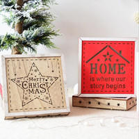 New Christmas Ornaments Christmas Wooden Light Decoration Christmas Light Box Night Light Box For Tree Gift For Kids Craft