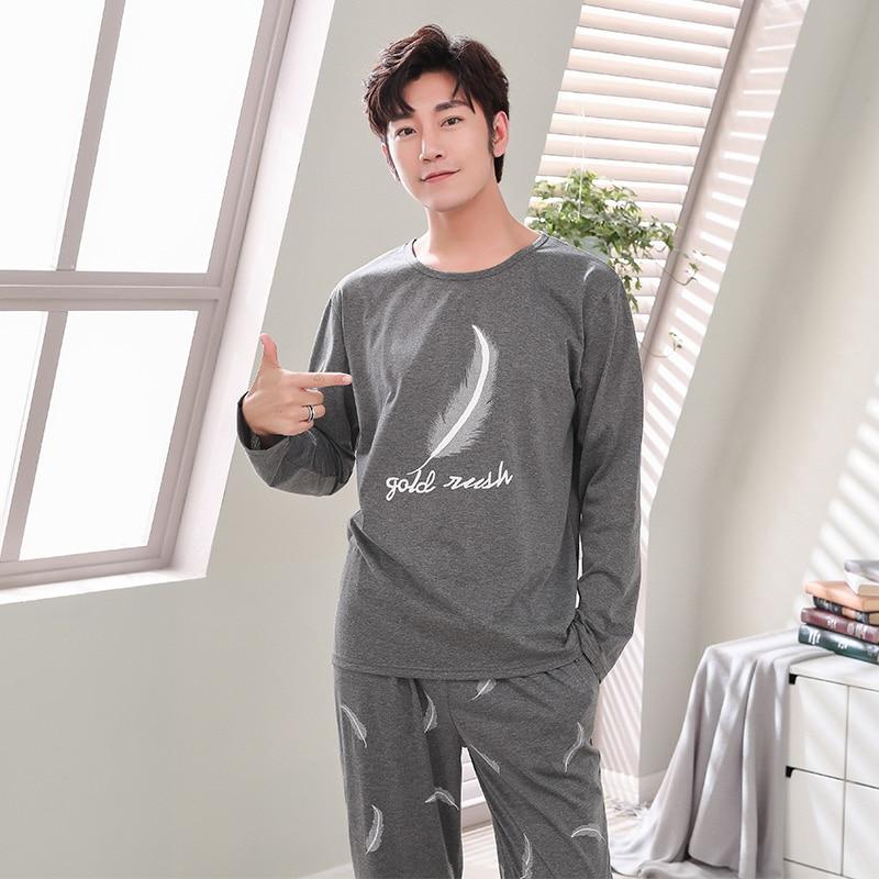 New 2019 Spring Men Pajamas long Sleeve Male Pajama Set Men Pure Full Cotton Pajamas For Men Sleepwear Suit homewear 4XL