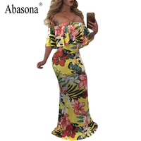 Abasona Ruffles Slash Neck Women Dress Off Shoulder Vintage Floral Print Maxi Long Dress Elegant Evening