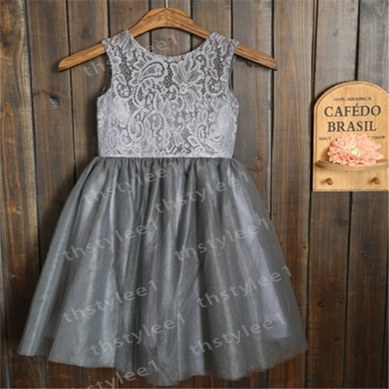 Grey tulle flower girl dresses with white sash wedding children grey tulle flower girl dresses with white sash wedding children easter baptism dress girls grey dress in flower girl dresses from weddings events on mightylinksfo